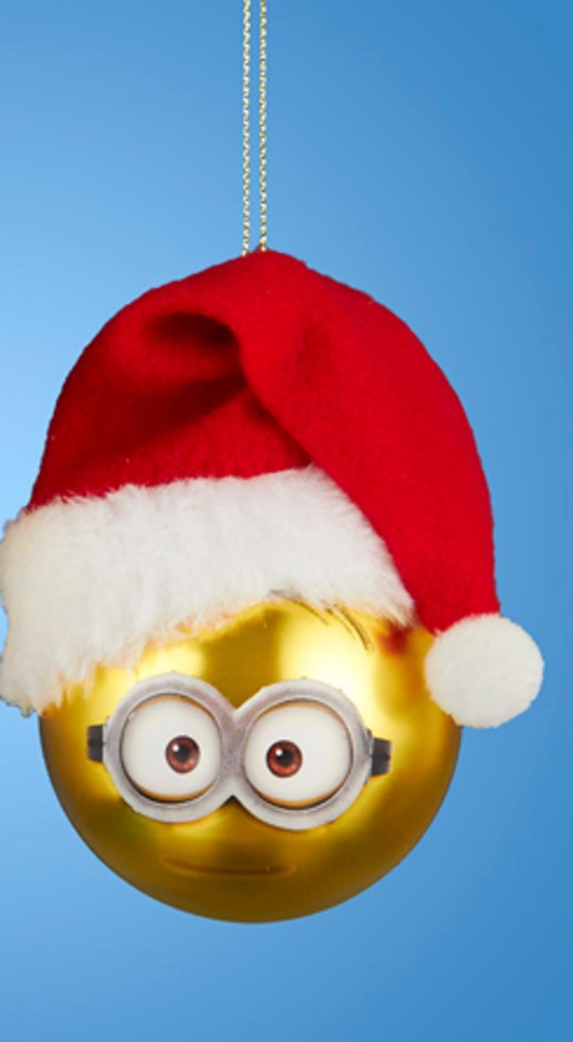 8454181aa9499 Despicable Me Minion Dave with Santa Hat Gold Glass Christmas Ball Ornament  2.5