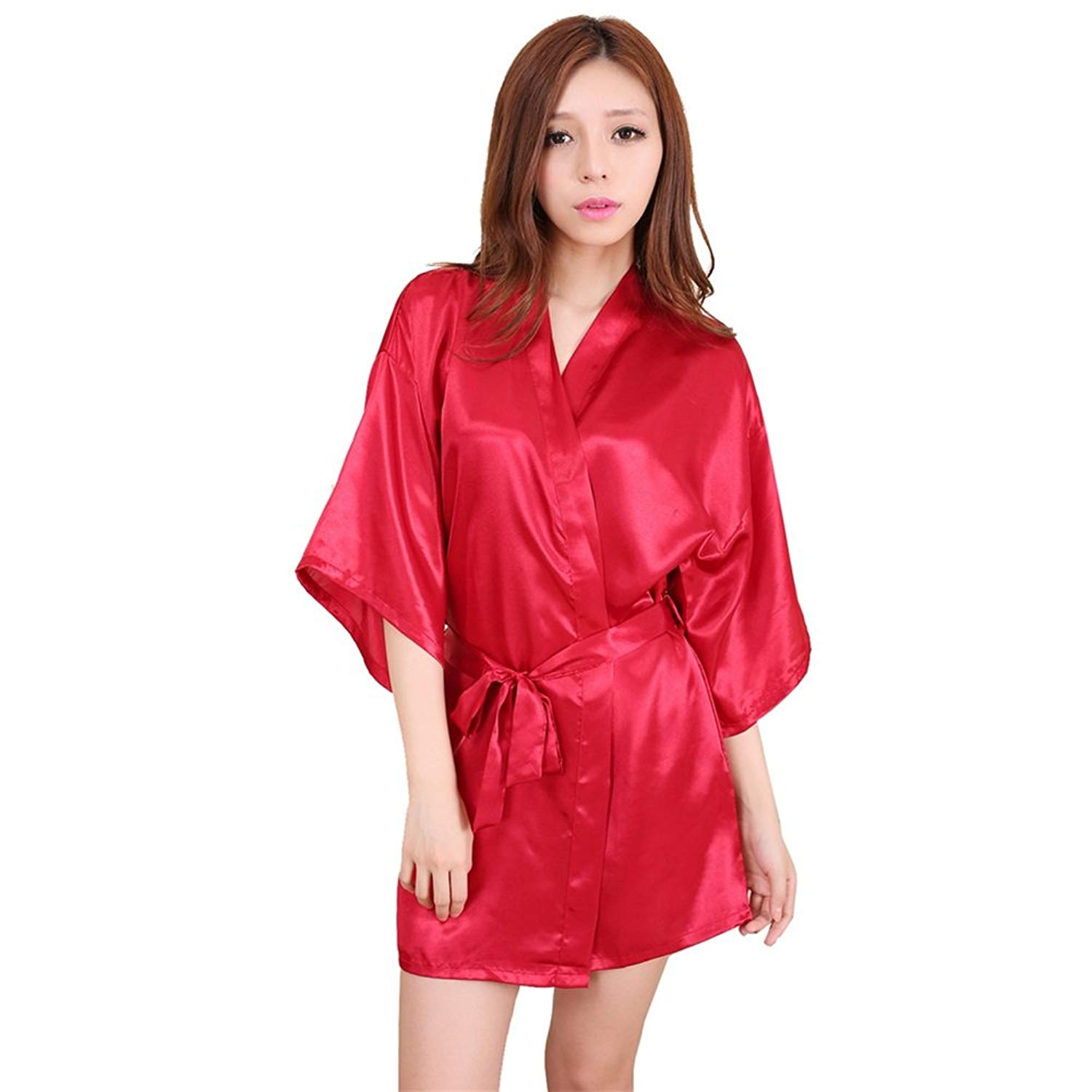 b0dd75658f Get Quotations · U-Faves Women s Solid Color Satin Kimono Short Robe  Housecoat Wedding Party Robe