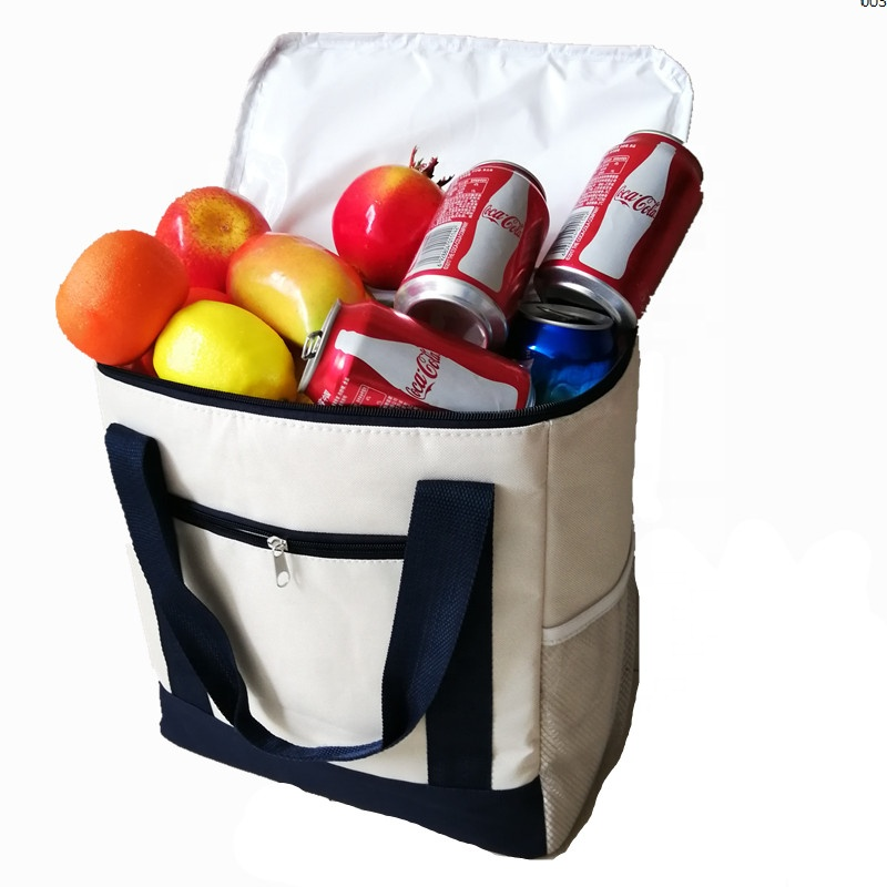 Big Double Zipper Front Zipper Pocket Nylon Tote Cooler Bag With Water-Proof Lining