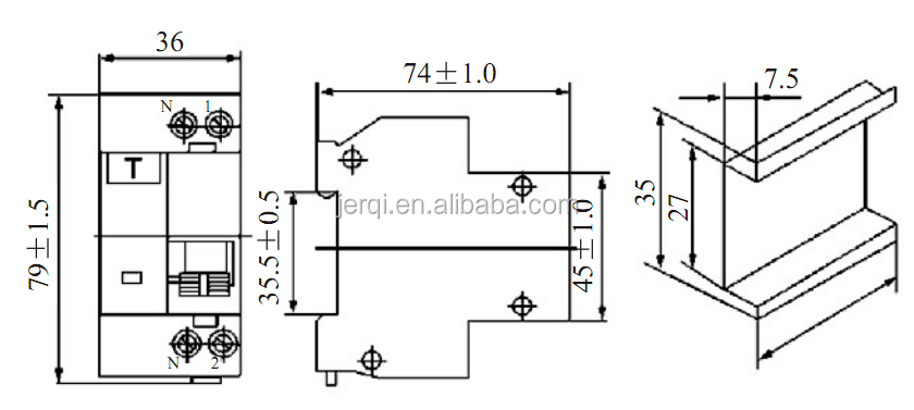 2pole rcbo 16a 20a 25a 32a 40a 30ma 2p n 6ka residual current circuit breaker