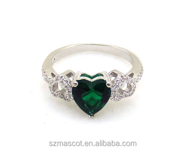 Factory Direct Women Heart Emerald Color Stone & White Zircon Ring