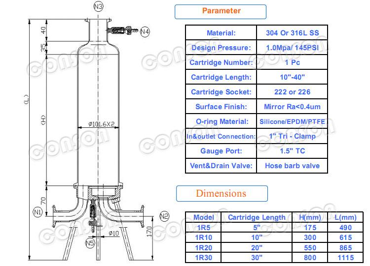 Wine Membrane Cartridge Filter Housing Wine Filtering