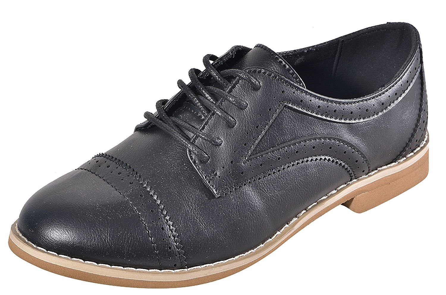 eef361b4 Get Quotations · Alyn Black Cute Faux Leather Oxford Style Laced up Closed  Toe Small Heel Flex Comfy Flats