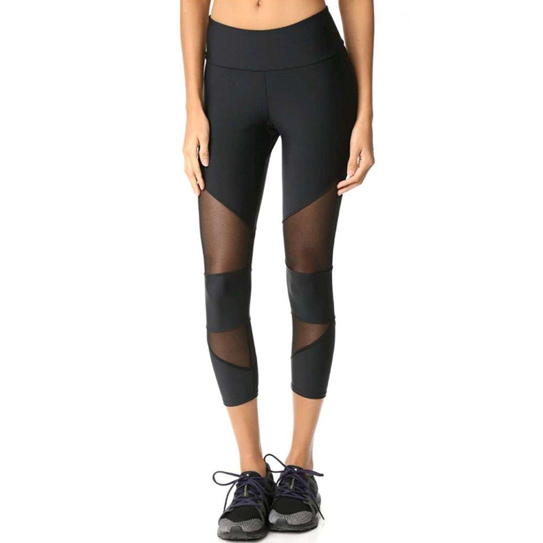 62cda37451fab Get Quotations · Caopixx Yoga Leggings Pants, Women Skinny Leggings  Patchwork Mesh Yoga Pants Fitness Sports Capri Pants