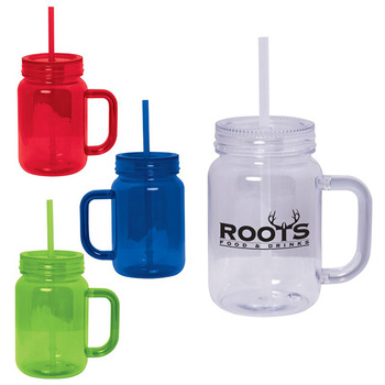 Custom Printing Plastic Mason Jar Mugs with Handle