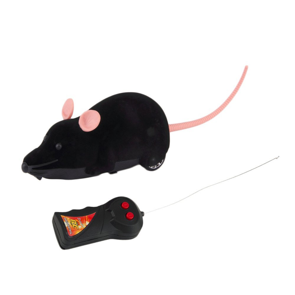 TOYMYTOY Remote Control Rat Mouse Toy for Cat Kitten Dog Pet Kids Novelty Gift (Black)