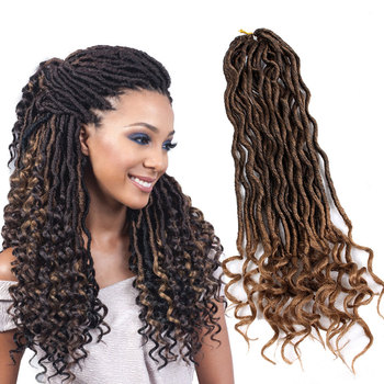Goddess Faux Locs Curly Crochet Hair 24 Roots Ombre Crocheted Braids
