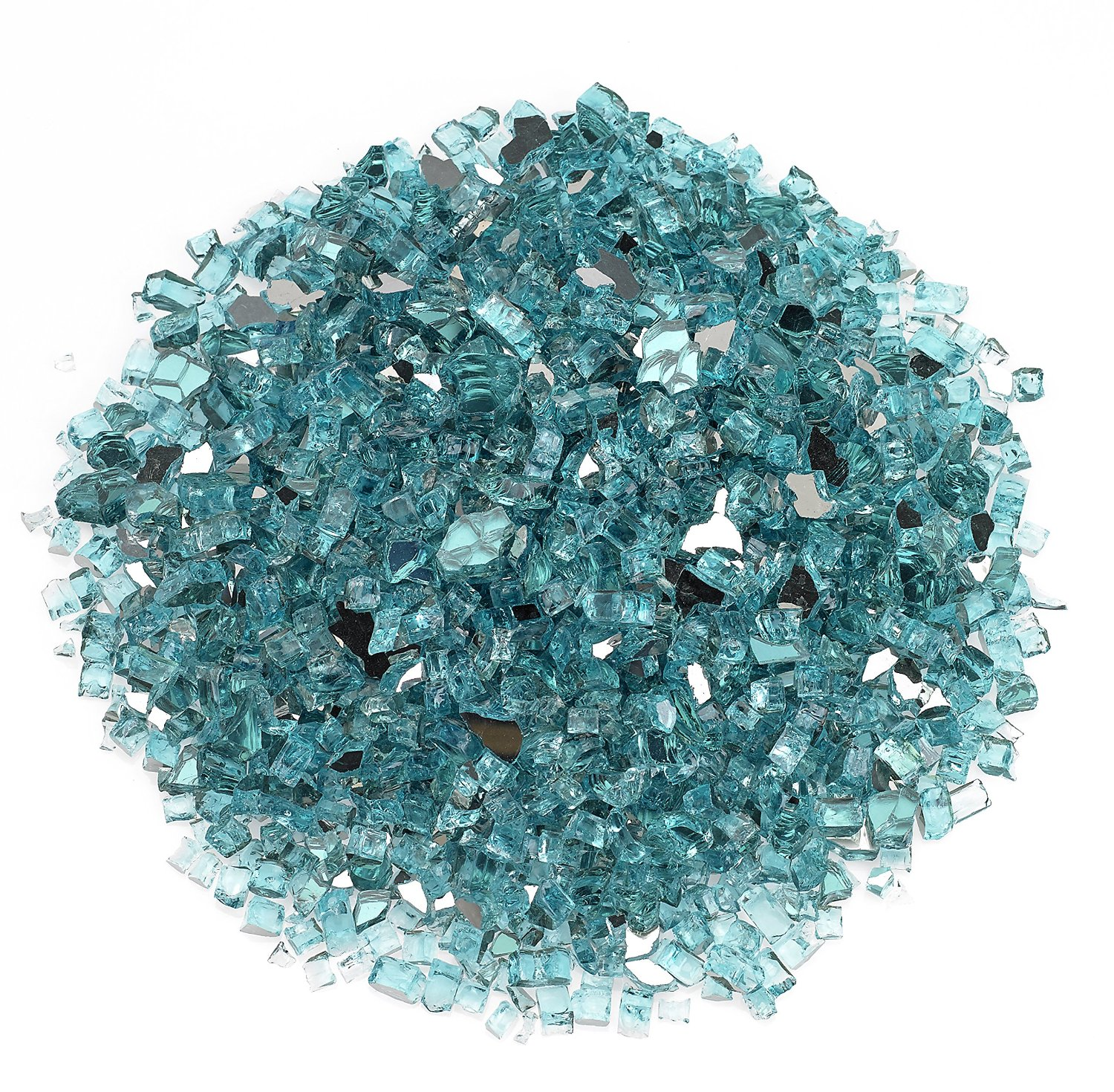 Midwest Hearth Fire Glass | 10-Pound | Beautiful Reflective Fireglass and Beads for Natural or Propane Fire Pit, Fireplace, or Gas Log Sets | American Made in USA (1/4-Inch Crushed, Tropical Teal)