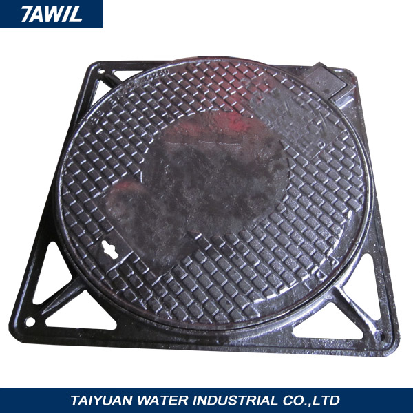 Quality TAWIL product sand casting square manhole cover with circular/round frane