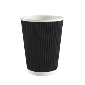 12oz Black Ripple Paper Cup Wholesale high quality ripple wall paper cups for coffee