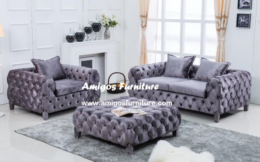 Italy Fabric Velvet Sofa Blue Antique