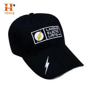 SGS Certified Black 6 Panel Promotional Baseball Cap for Electronics Industry