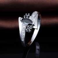 2016 Best Selling Christmas Gifts 925 Silver Ring With Black Stone