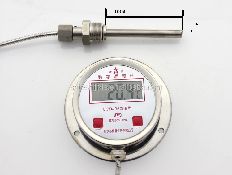 Digital bimetallic digital industrial electronic thermometer DTM-491 all stainless steel thermometer 304 remote transmission