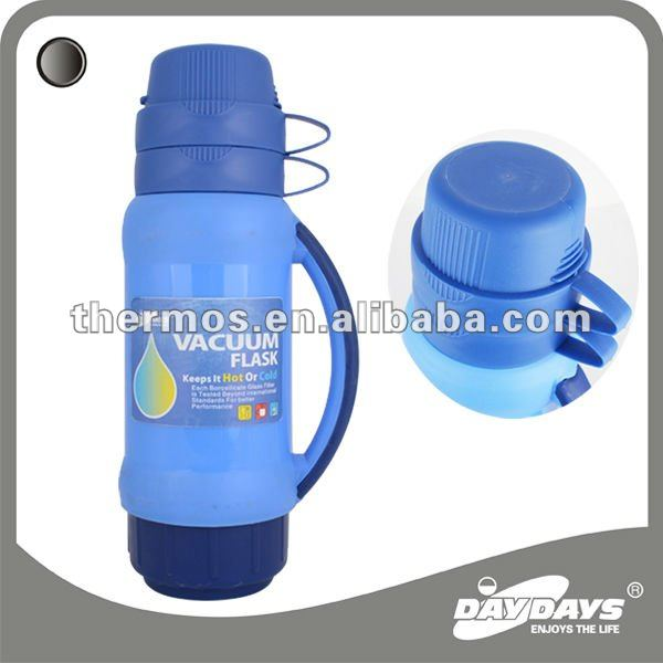 1.0L two cup plastic casing glass refill thermos vacuum flask