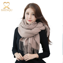 2017 Wool Ladies Shawl 70*210CM Solid Color Silk Feel Polyester Scarf