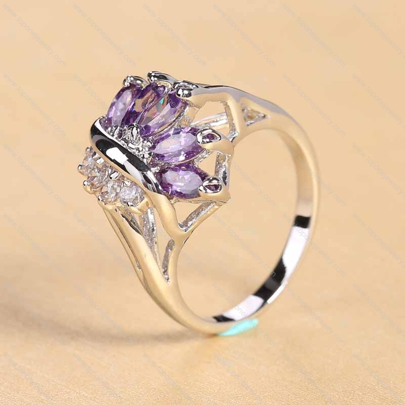 China wholesale jewelry Ring with a similar female transparent purple jewel Crown