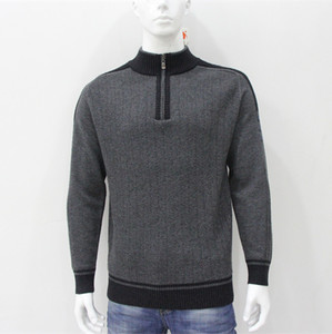 Fall Best Price Europe Style Slim Fit Men's Acrylic /Cotton Mock Turtle Neck zip front Computed Knitwear Men