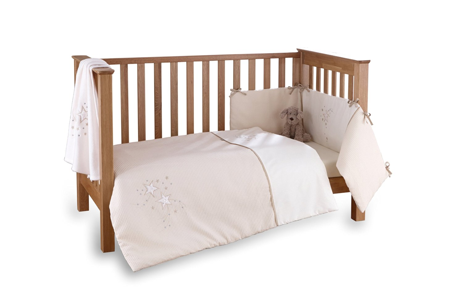 Clair de Lune Stardust 3 Piece Bedding Set to fit Cot / Cot Bed in Cream