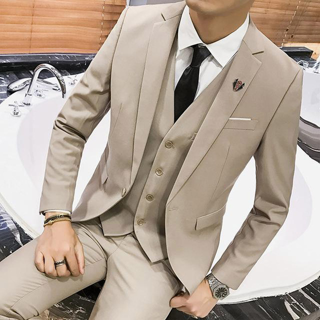 HD116 Khaki Man's Suits for Wedding Party Costume Three Piece Groom Tuxedos Jacket Pans Vest Notched Lapel Blazer Waistcoat