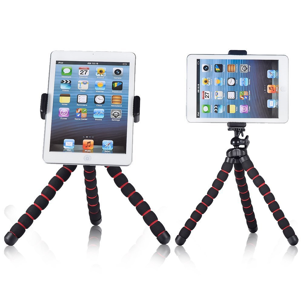 "High Quality Double 1/4"" Screw Universal Tablet PC Tripod Monopod Stand Adapter Clip mount for iPad mini air 2 4 with Sponge"