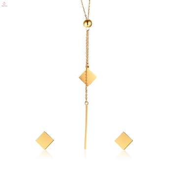 New Design Stainless Steel Gold Geometry Earring Necklace Jewelry Set