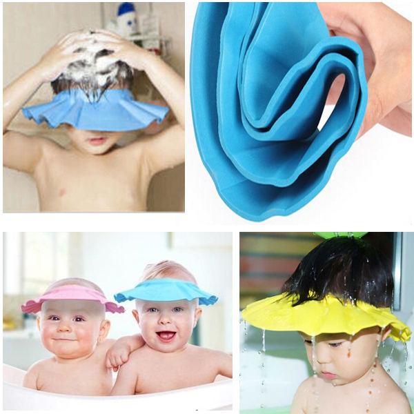 9670ceb3b5d 1PCS Wholesale Snap-Button Adjustable Baby Shampoo Cap Essential Bath Cap  Bath Visor for Baby Children Kids Free Shipping