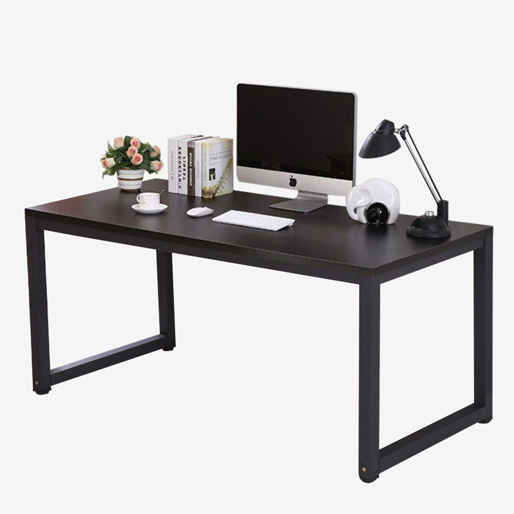 "juweixin Modern Computer Desk 55"" Simple Style PC Laptop Sturdy Wooden Particleboard Table with Steel Frame Study Office Training Meeting Desk for Home Office School, Black + Black Leg"