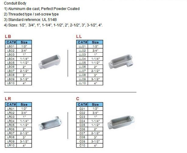 Aluminum Emt conduit body LL,LB,LR,T type