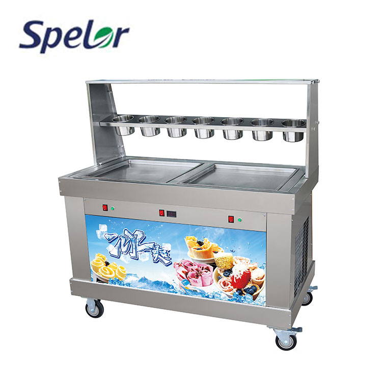 Low-temperature flat pan thailand fry ice cream machine