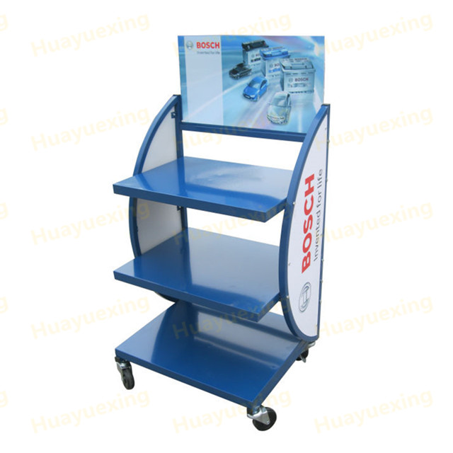 high quality with wheels portable 3 layers metal for car battery display <strong>stand</strong>