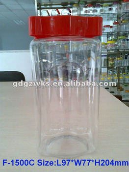 1500ml Square Clear Plastic Candy Bottle With Red Screw Cap,Pet ...