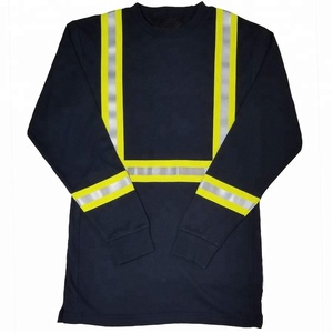 Economy Traffic Policeman Welder High visibilIty ANSI Reflective Men's Working Wear Navy Long Sleeve Shirt Sweater