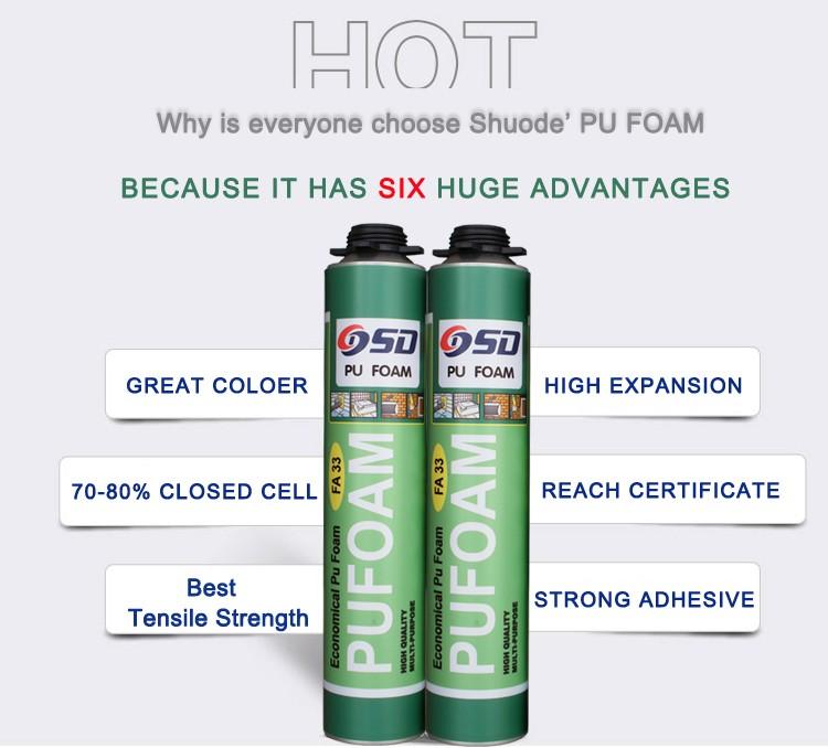 Best Selling Window Door Cheap 750ml Pu Expanding Spray