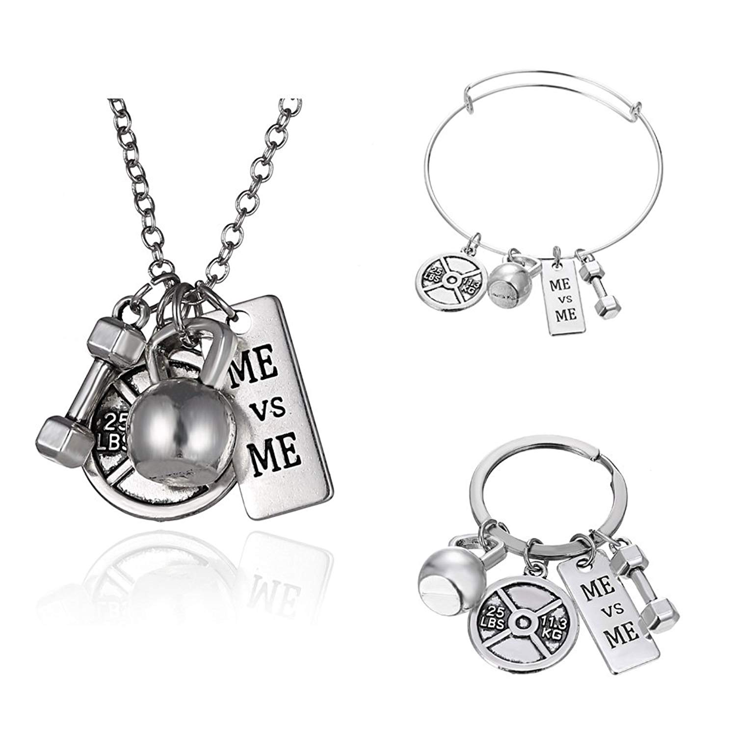 Gmai ME VS ME Workout Exercise Weight Lifting Barbell Kettlebell Fitness Silver Fitness Gym Barbell Plate Dumbbell Weight Jewelry Set Necklace Keyring bracelet
