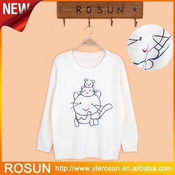 Girls Fancy Sweater Pullover Easy Design Cat Sweater Knit Pattern