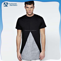 2015 New custom two tone Spliced woven fabric t shirt,fashionable longlined t shirt for men