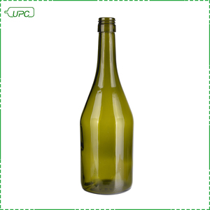 Green olive black gold empty wine champagne bottle