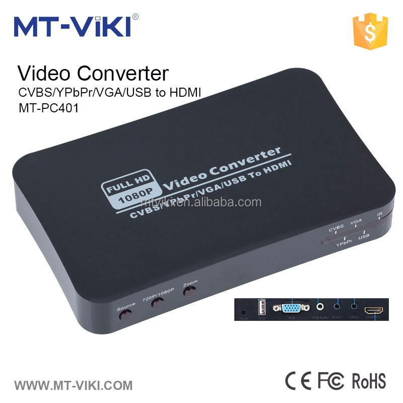 MT- VIKI 1080P 720P with IR remote YPbPr AV VGA USB to hdmi converter