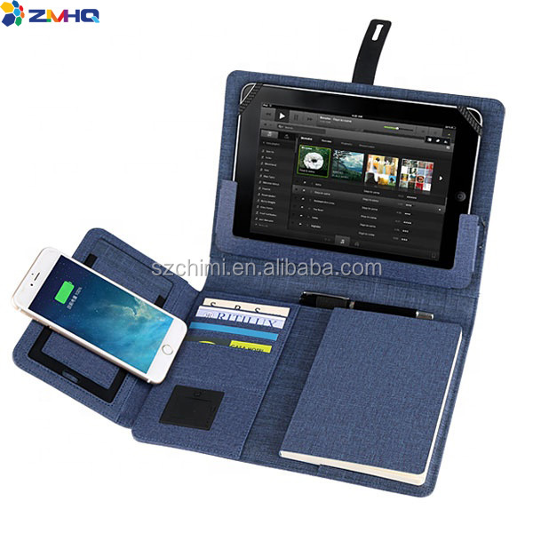 A5 leather portfolio met tablet stand & power bank