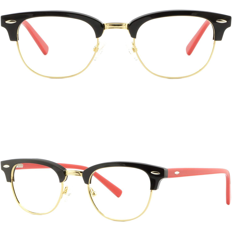 c5a89e08418 Get Quotations · Womens Girls Browline Frames Acetate Glasses Eyeglasses  Spring Hinges Black Gold