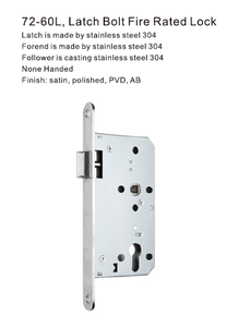 72-60L Latch Bolt Fire Rated European Mortise Locks