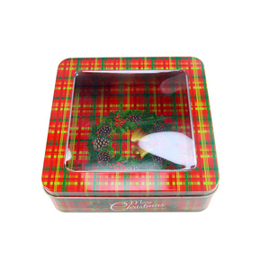 High quality square metal christmas gift tin box with clear pvc window for candy