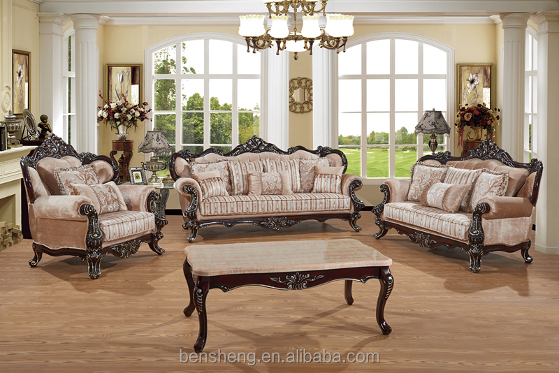 S1322 Foshan Shunde Furniture Factory Elegant Neo Classical Style Crafted Carving Sofa