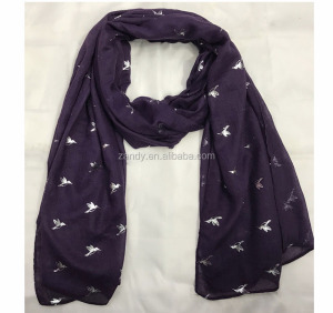best selling soft cotton birds gold foil print purple long scarf