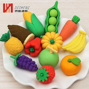 Direct selling promotionaal school 3d rubber custom fruit animal shape kids eraser