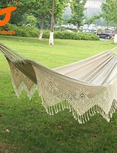 BO SWIFT Outdoor? New Cotton Thickening Canvas outdoor Luxury Double Person Portable Tassel Hammock White Fringe Hammock