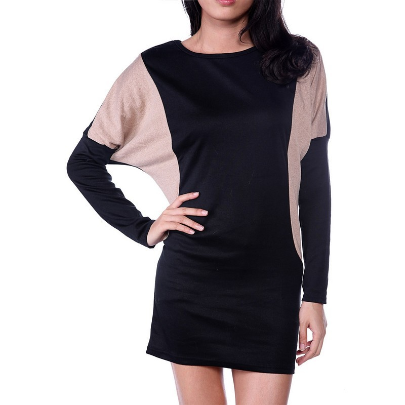2015 Fashion New Autumn Winter Women's Casual Loose O-Neck Batwing Long Sleeve Mini Knit Sweater Dress Plus Size Vestidos 9SJM