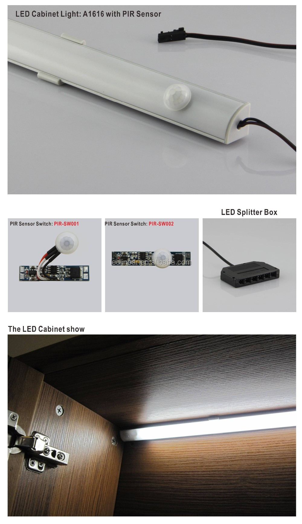 Indoor Light Sensor Switch Wardrobe Light Switch With 3 Sensor ...
