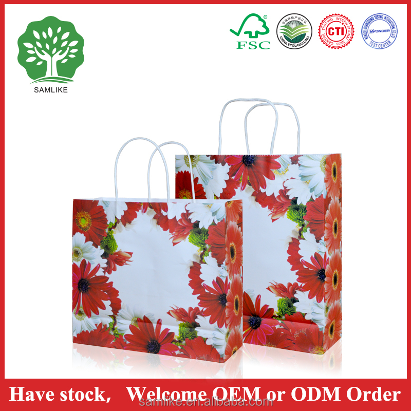 flower design paper bag wholesale paper gift shopping bag manufacture custom Favor bags paper